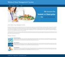 Python, Django and MySQL Project on Medical Shop Management System