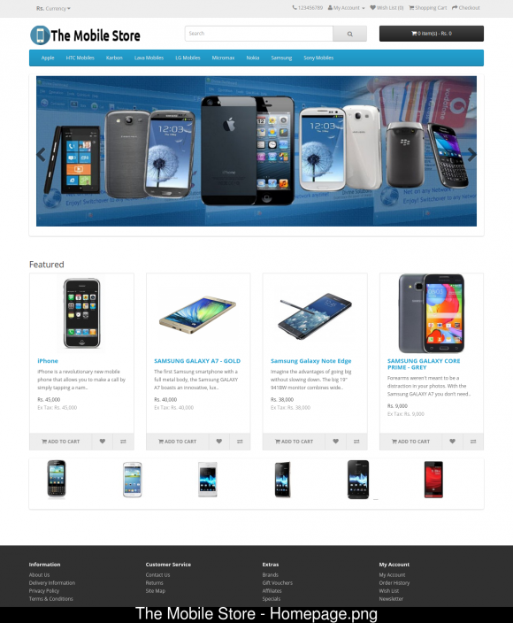 PHP Project on Online Mobile Shopping Store with MySQL Database.