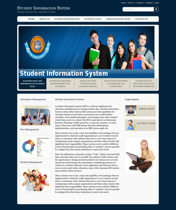 student information system synopsis Student portal system is a portal website for colleges or institutes to offer facility to their students & faculties for creating & maintaining their own web pages (profiles) which anyone can view online by visiting the website.
