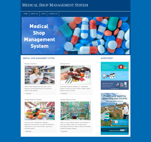 PHP and MySQL Project on Medical Shop Management System