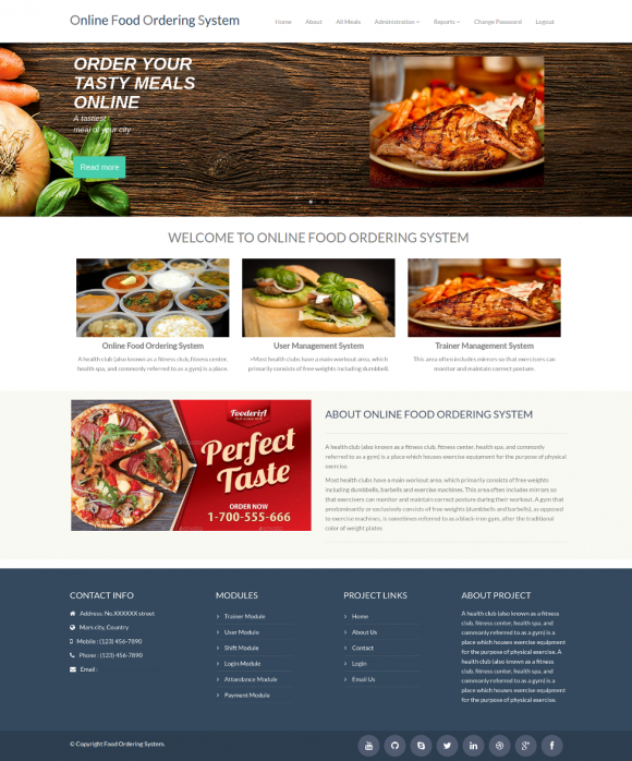 PHP and MySQL Project on Food Ordering System