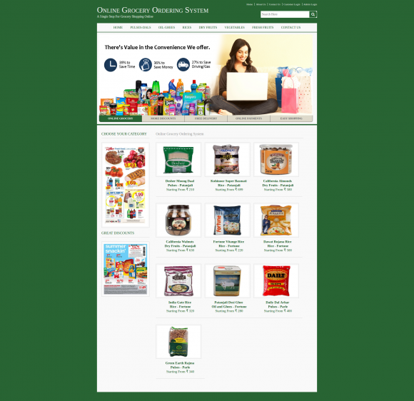 Java, JSP and MySQL Project on Online Grocery Ordering System