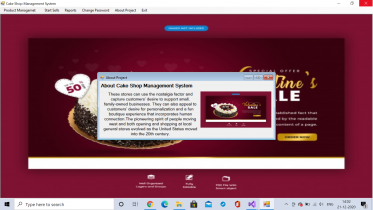 C# Windows Application in Cake Shop Management System
