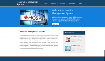 Python Django and MySQL Project on Hospital Management System