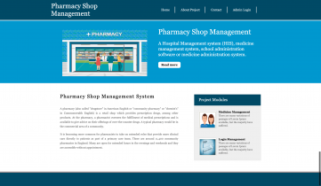 Python Django and MySQL Project on Pharmacy Shop Management System