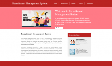 Python, Django and MySQL Project on Recruitment Management System