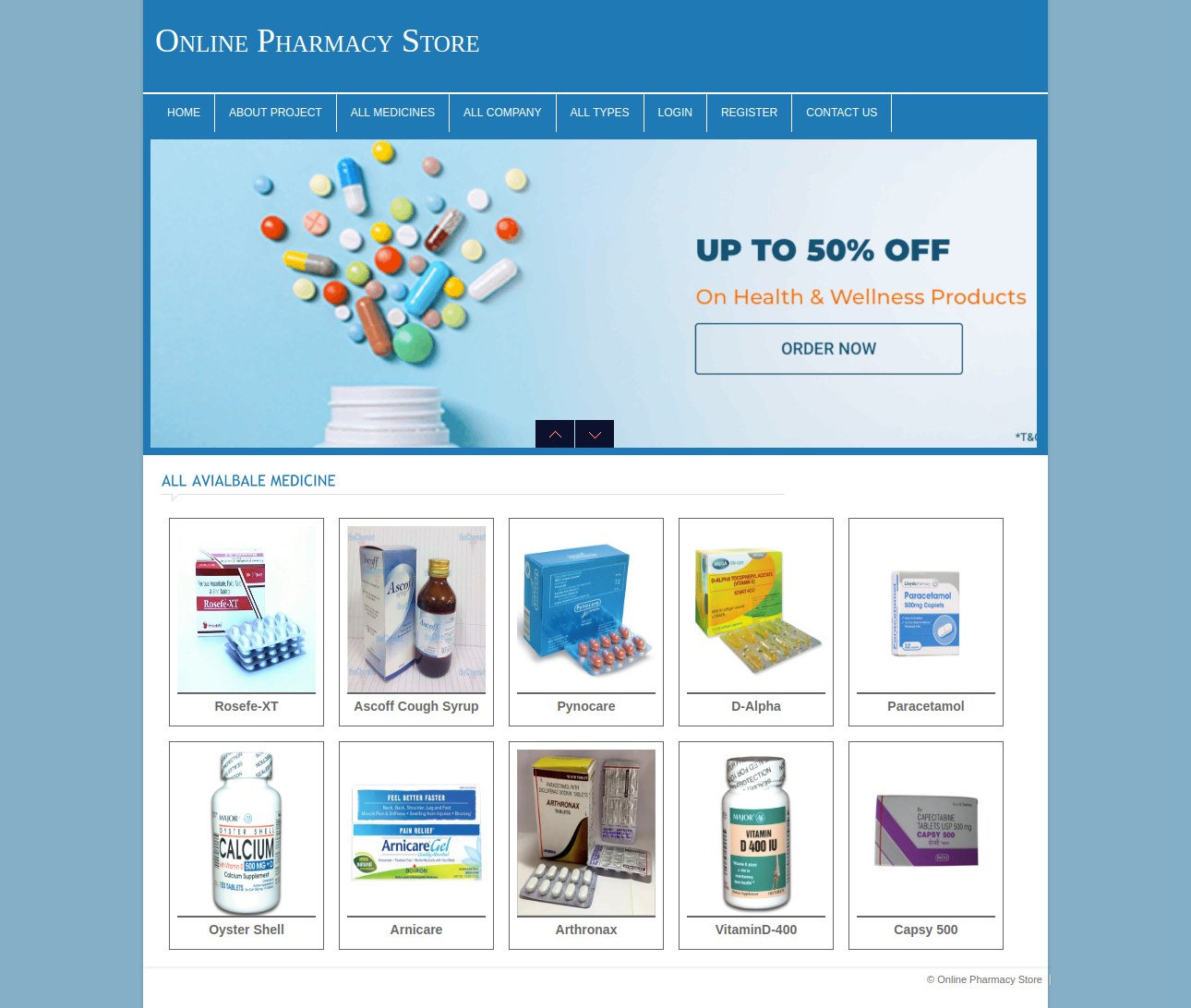 Online Pharmacy Store Dbms Php And Mysql Mini Project