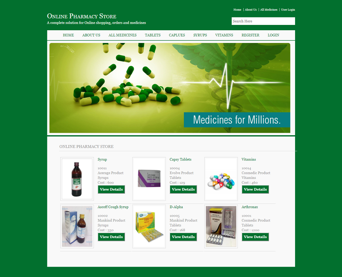Online Pharmacy Store Dbms Asp And Mysql Mini Project Source Code Database Report